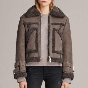 Allsaints Asher Shearling Biker Leather Jacket